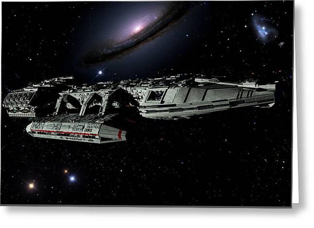 Galactica Among Stars Greeting Card by Joseph Soiza