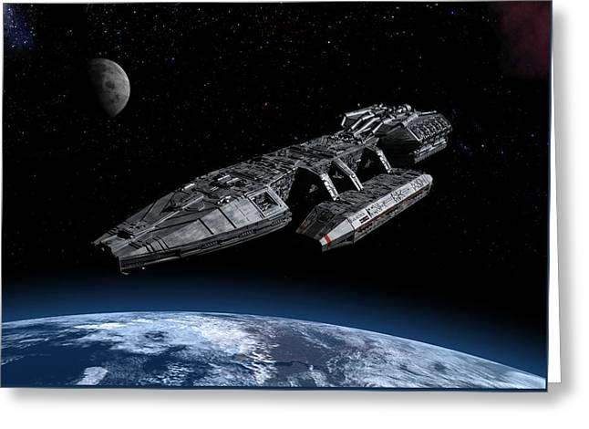 Galactica Over Earth Greeting Card by Joseph Soiza