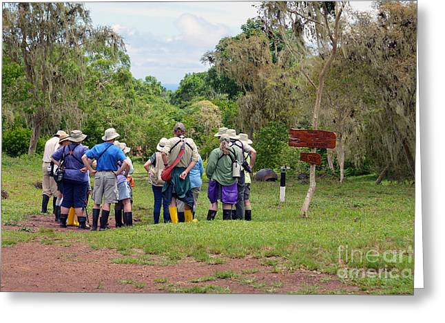 Santa Cruz Greeting Cards - Galapagos Islands Tourists at Tortoise Sanctuary Greeting Card by Catherine Sherman
