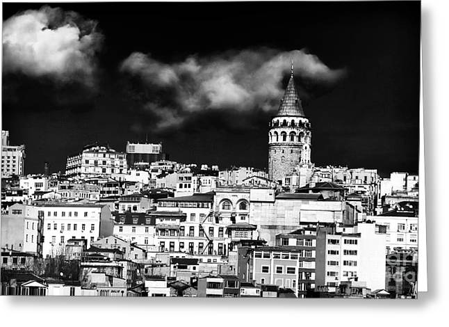 Galata Greeting Cards - Galata Tower I Greeting Card by John Rizzuto