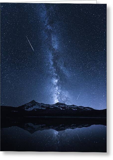 Night Photography Greeting Cards - Galaxies Reflection Greeting Card by Toby Harriman