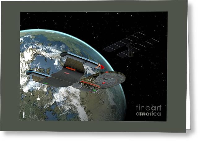 Galaxy Class Star Cruiser Greeting Card by Corey Ford