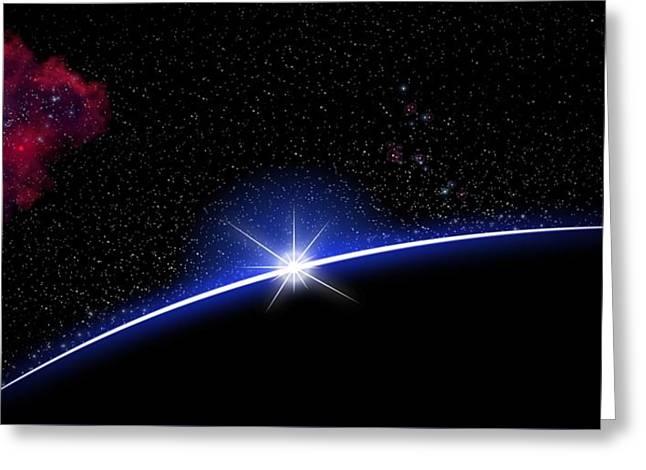 Galaxy Rising Greeting Card by John Wills