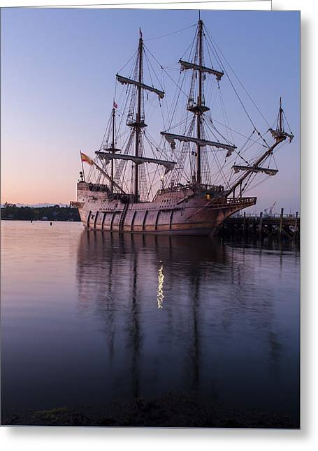 Tall Ship Pyrography Greeting Cards - Galeon Andalucia Greeting Card by Stewart Mellentine
