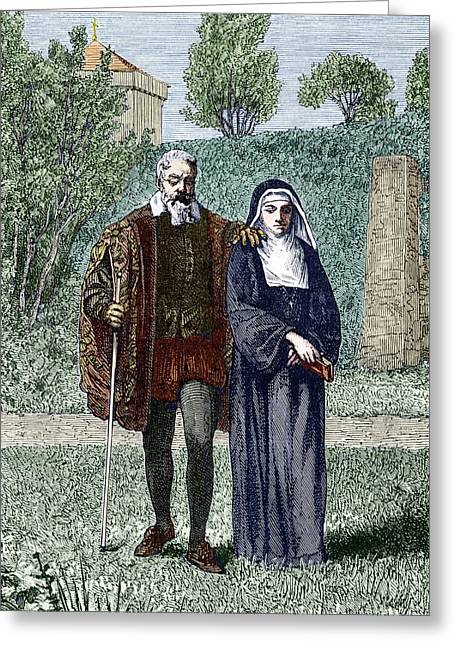 Gaston Greeting Cards - Galileo And His Daughter Maria Celeste Greeting Card by Sheila Terry