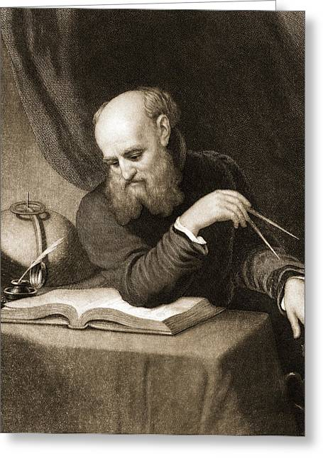 Galileo With Compass And Diagrams Greeting Card by American School