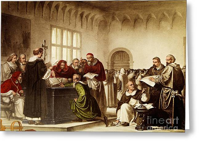 Trial Greeting Cards - Galileos Inquisition 1633 Greeting Card by Science Source