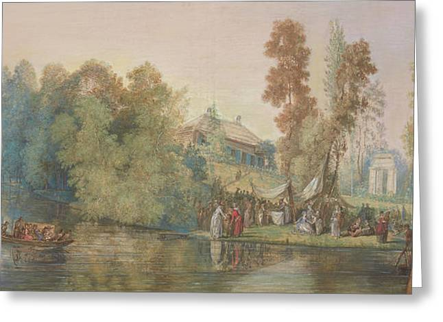 Gallant Scene  Picnic At A Lake, Greeting Card by Jean Pierre Norblin