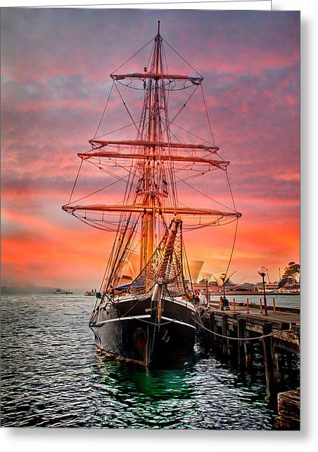 """sailing Ship"" Greeting Cards - Galleanos Quest Greeting Card by Az Jackson"