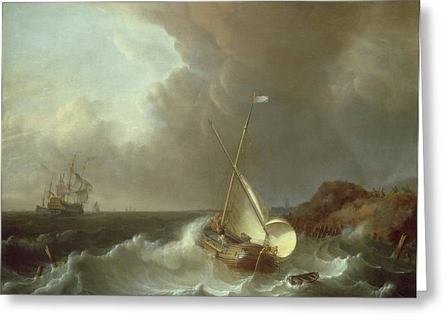 Galleons Greeting Cards - Galleon in Stormy Seas   Greeting Card by Jan Claes Rietschoof