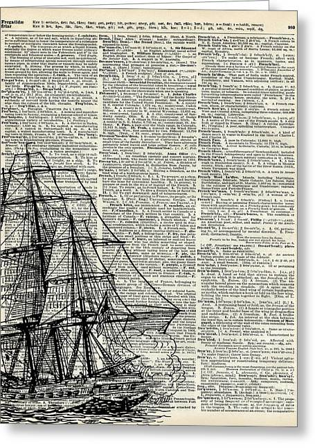 Old Ship Art Greeting Cards - Galleon Ship over Dictionary Page Greeting Card by Jacob Kuch
