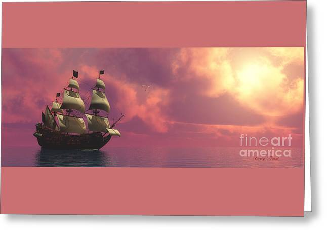 Historic Schooner Greeting Cards - Galleon Ship with Sails Greeting Card by Corey Ford