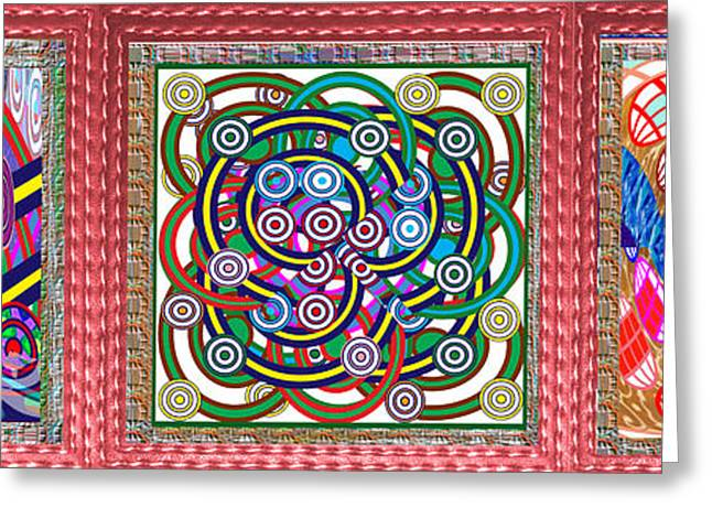 Hoops Mixed Media Greeting Cards - Gallery Interior Decorations 3 NOVINO Signature Style Abstract Graphics IN ONE  Stitched Leather Loo Greeting Card by Navin Joshi