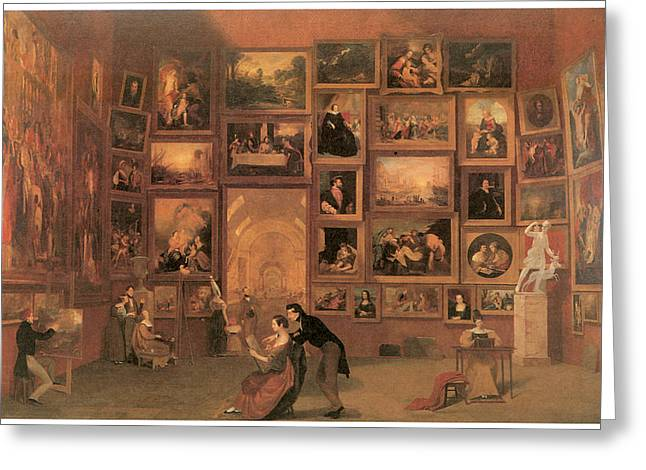 Samuel Paintings Greeting Cards - Gallery of the Louvre Greeting Card by Samuel Morse