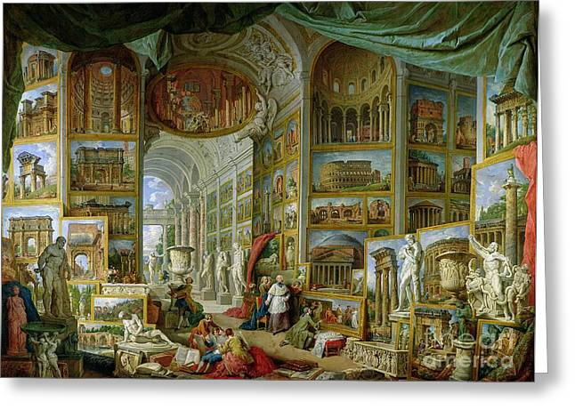 Classical Paintings Greeting Cards - Gallery of Views of Ancient Rome Greeting Card by Giovanni Paolo Pannini