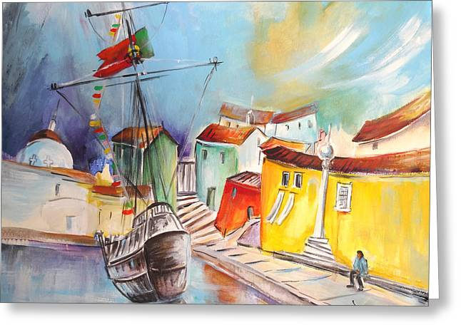 Portugal Paintings Greeting Cards - Gallion in Vila do Conde Greeting Card by Miki De Goodaboom