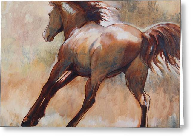 Quarter Horses Greeting Cards - Gallop Greeting Card by Tracie Thompson