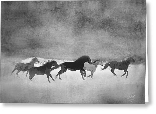 Expressionist Horse Greeting Cards - Galloping Herd Black and White Greeting Card by Renee Forth-Fukumoto