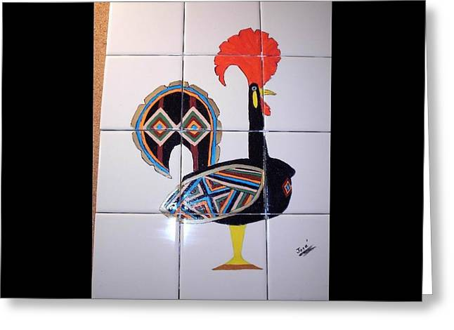 Acrylic Ceramics Greeting Cards - Galo de Barcelos Greeting Card by Hilda and Jose Garrancho