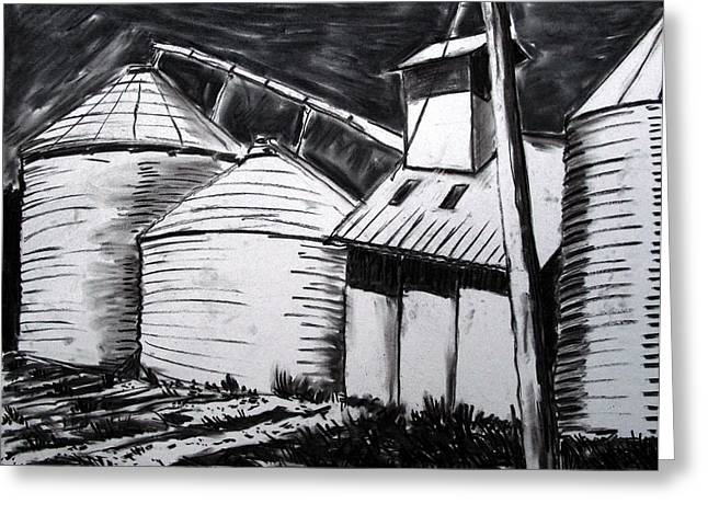 Gathering Drawings Greeting Cards - Galvanized Silos Waiting Greeting Card by Charlie Spear