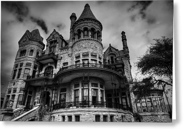 Galveston Photographs Greeting Cards - Galveston - Bishops Palace 002 BW Greeting Card by Lance Vaughn
