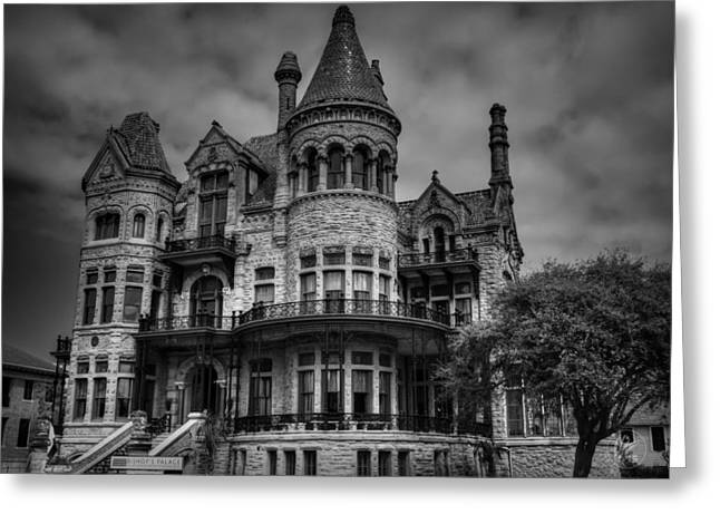 Galveston Photographs Greeting Cards - Galveston - Bishops Palace 003 BW Greeting Card by Lance Vaughn