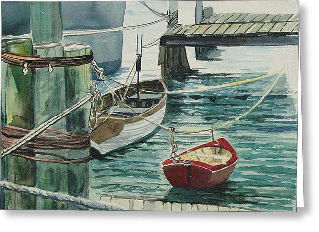 Galveston Greeting Cards - Galveston Boats watercolor Greeting Card by Judy Loper