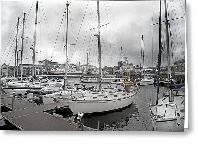 Stormy Weather Greeting Cards - Galway Harbour Greeting Card by Betsy C  Knapp
