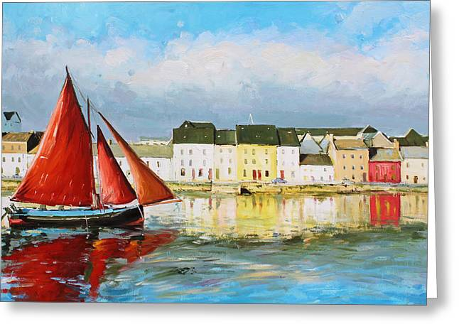 Recently Sold -  - Boats On Water Greeting Cards - Galway Hooker Leaving Port Greeting Card by Conor McGuire