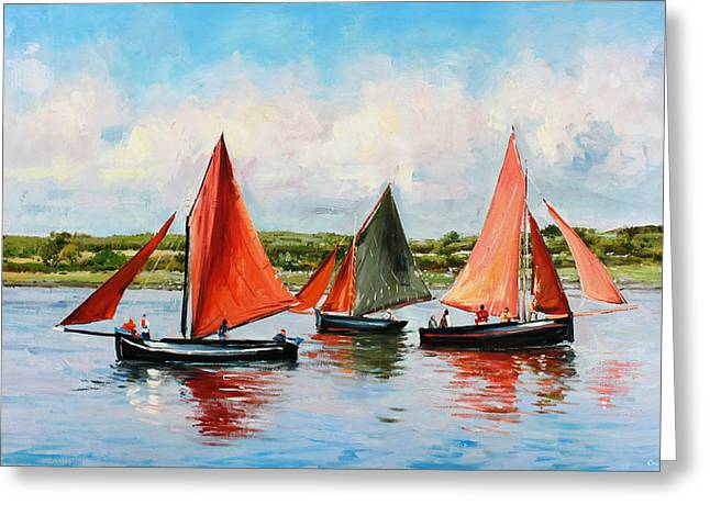 Sea Scape Greeting Cards - Galway Hookers Greeting Card by Conor McGuire
