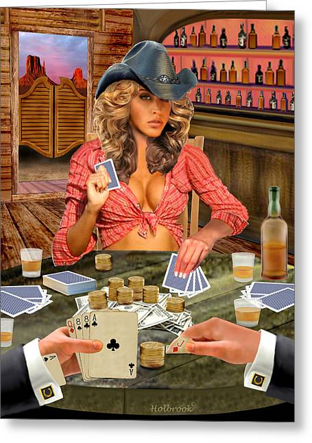 Saloons Greeting Cards - Gamblin Cowgirl Greeting Card by Glenn Holbrook
