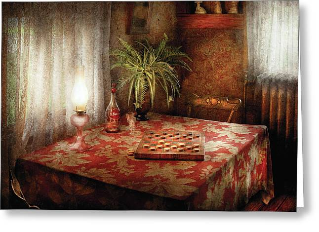 White Curtain Greeting Cards - Game - Checkers - Checkers Anyone Greeting Card by Mike Savad