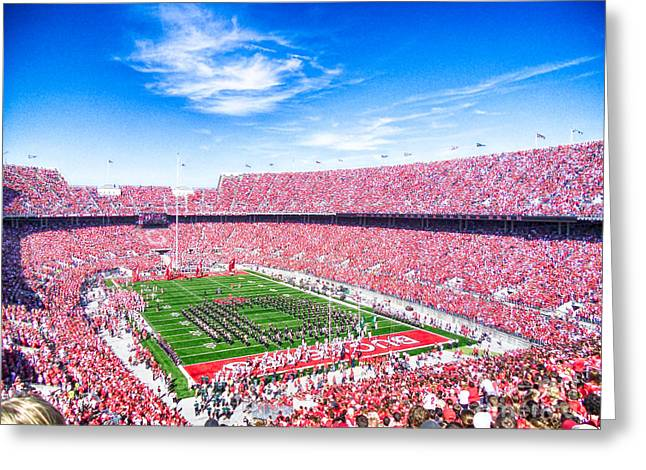 Espn Photographs Greeting Cards - Game Day at Ohio State Greeting Card by Rachel Barrett