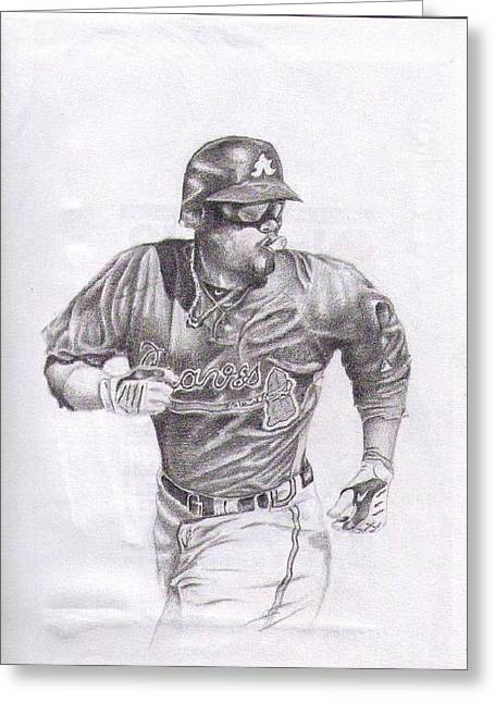 Baseball Uniform Drawings Greeting Cards - Game In Motion Greeting Card by Garrett Wright