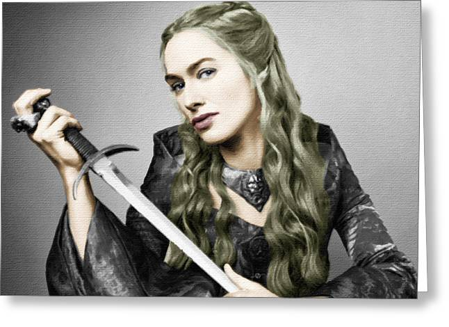 Art Book Greeting Cards - Game of Thrones Cersei Lannister Lena Headey Greeting Card by Tony Rubino
