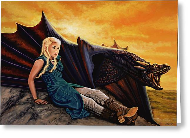 Game Of Thrones Painting Greeting Card by Paul Meijering