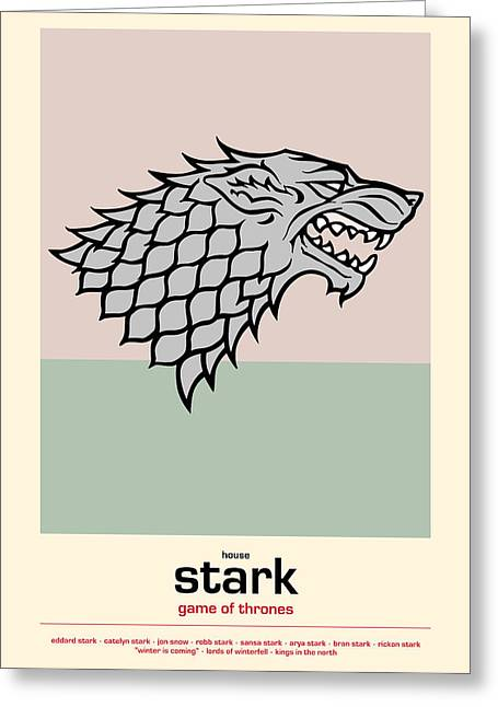 The North Digital Art Greeting Cards - Game Of Thrones Poster House Stark Sigil Greeting Card by Florian Rodarte