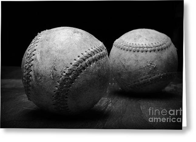 Worn Baseball Greeting Cards - Game Used Baseballs in black and white Greeting Card by Paul Ward