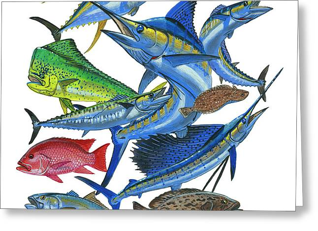 Gamefish Collage Greeting Card by Carey Chen
