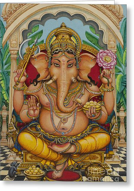Ganapati Greeting Cards - Ganapati darshan Greeting Card by Vrindavan Das