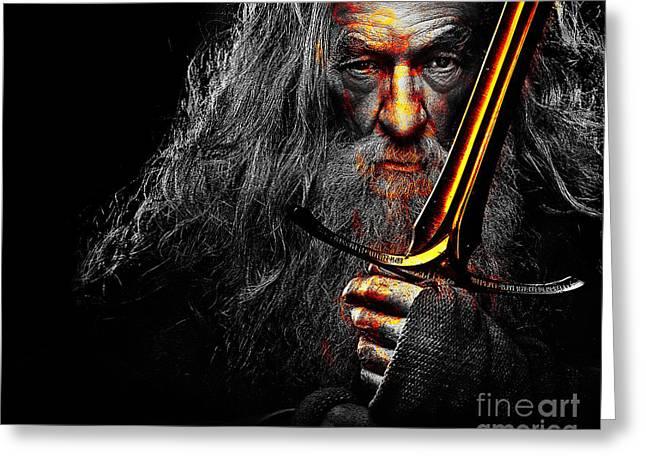 The Leader Of Mankind  - Gandalf / Ian Mckellen Greeting Card by Prar Kulasekara