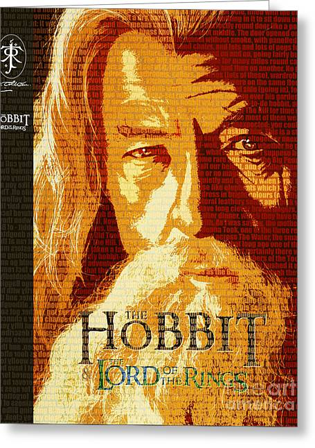 Two Towers Greeting Cards - Gandalf The Lord of the Rings Book Cover Movie Poster Art 1 Greeting Card by Nishanth Gopinathan