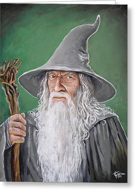 Lord Of The Rings Greeting Cards - Gandalf Greeting Card by Tom Carlton