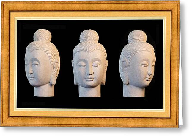 Granite Sculptures Greeting Cards - Gandhara Greeting Card 2 Greeting Card by Terrell Kaucher