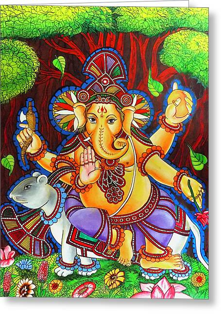 Vinayaka Greeting Cards - Ganesha Hindu Colored Mural Painting Greeting Card by Arun Sivaprasad