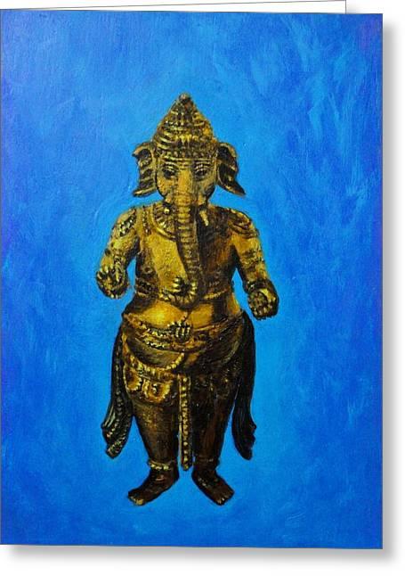 Vinayaka Greeting Cards - Ganesha Idol Greeting Card by Usha Shantharam