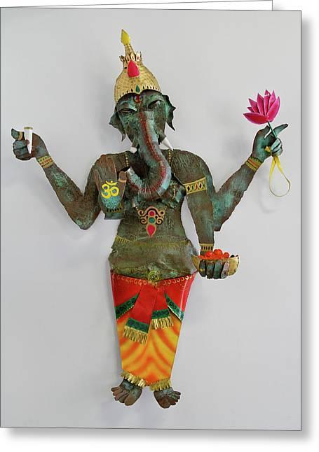 God Reliefs Greeting Cards - Ganesha Greeting Card by Noah Baumwoll