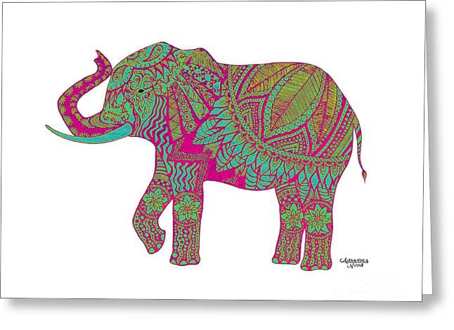 Pen And Ink Drawing Greeting Cards - Ganesha - Pink Greeting Card by Alexandra Nicole Newton