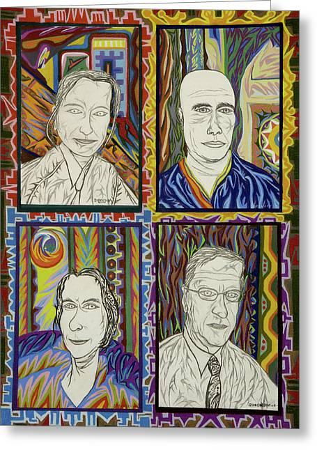 Wife Pastels Greeting Cards - Gang of Four Greeting Card by Robert  SORENSEN