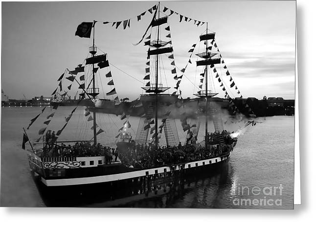 Recently Sold -  - Pirate Ships Greeting Cards - Gang of Pirates Greeting Card by David Lee Thompson
